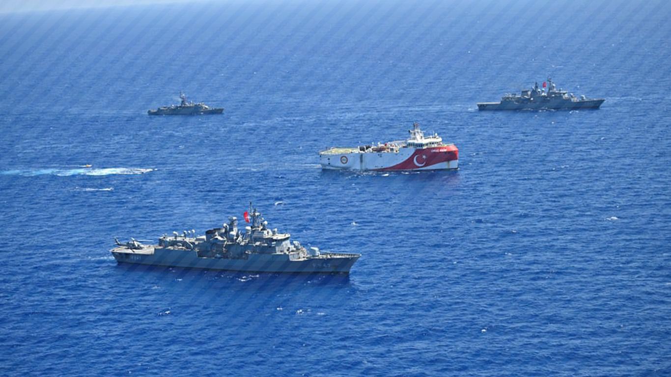 Source: Anadolu Agency-(Turkey's Oruc Reis seismic vessel, escorted by Turkish navy, is seen offshores of Eastern Mediterranean on August 20, 2020.)